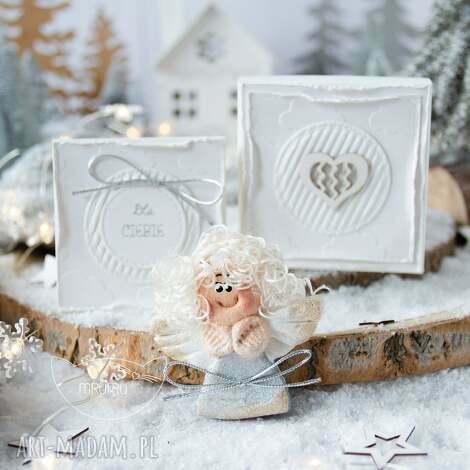 świąteczny aniołek w pudełeczku, z kartką. personalizowany podarek