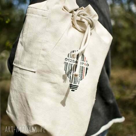 plecak , worek bawełniany, haft kod kreskowy żarówka, worek, plecak, torba,
