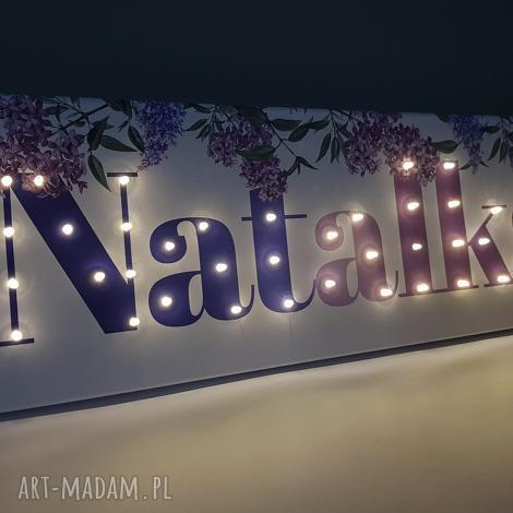 obraz led neon z imieniem bez kwiatowa dekoracja napis wystrój pokoju prezent