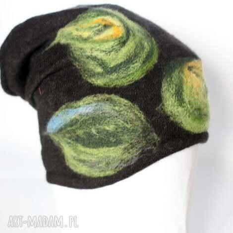 czapka handmade na podszewce - wełna, ciepła, etno, boho, kwiaty, prezent