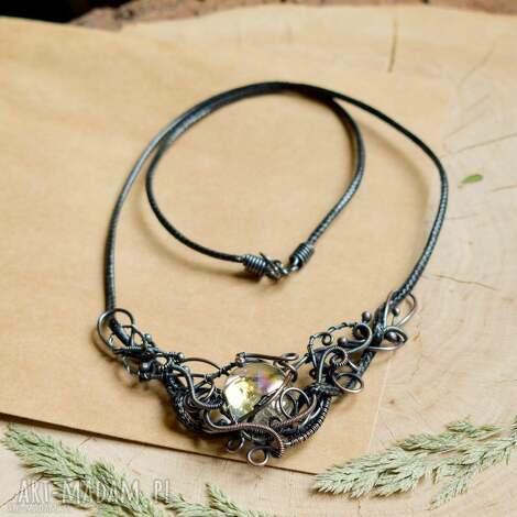 iridescent - naszyjnik z miedzi z tęczowym szkłem, naszyjnik ze szkłem, wire