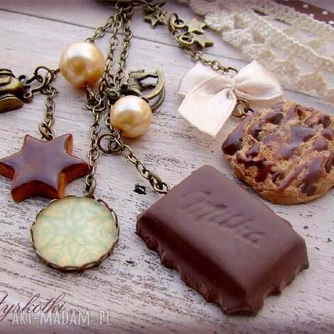 czekoladowo-świąteczny breloczek, czekolada, modelina, fimo, ciasteczka, święta