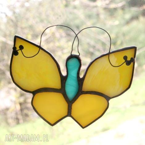 błystek limonek, witraż, motyl, zawieszka