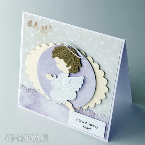 kartka na chrzest Św - z aniołkiem - kartka, chrzest, narodziny, prezent, komunia