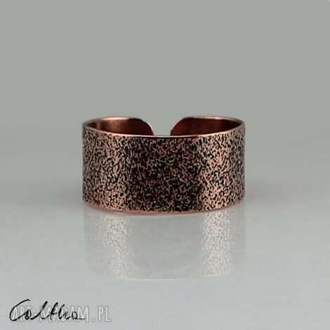 piasek - miedziany pierścionek 130620-07 #, pierścinek, obrączka, szeroka