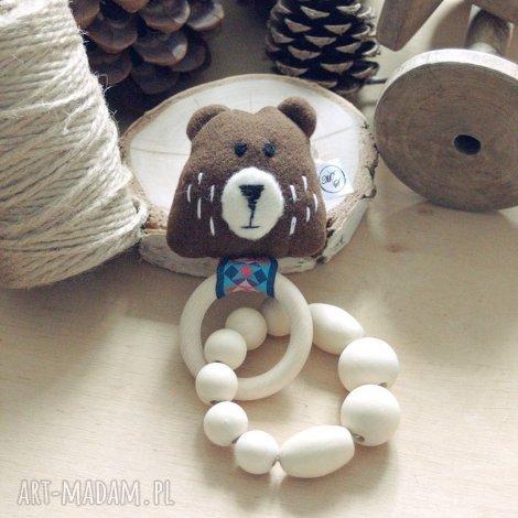 drewniana zabawka gryzak grzechotak (grzechotaka, zabaweczka narodziny, wózek)