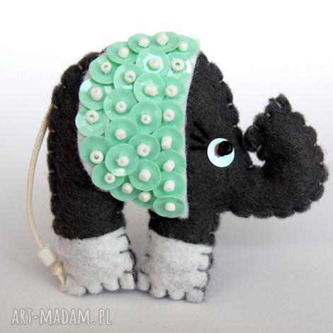 cekinowy słoń broszka z filcu - filc, słoń, broszka, cekiny, wyjątkowy