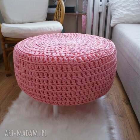 pufy dziergana pufa xxl ze sznurka na bazie opony różowa, dziergana, pufa, sznurek