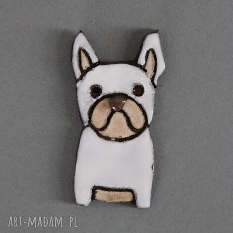 mopsiak-broszka ceramiczna - wielbiciel, święta, prezent, upominek, urodziny, pies