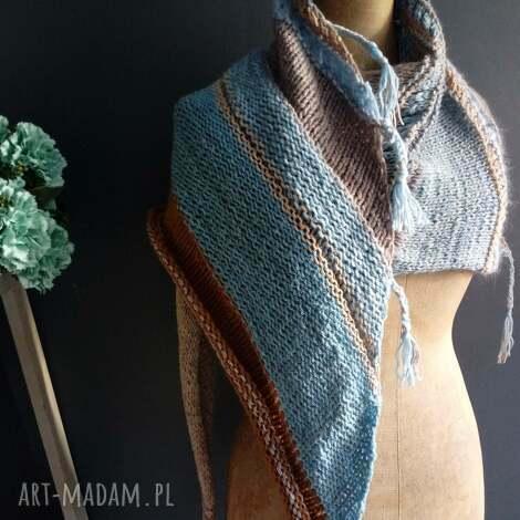 duża chusta - chusta, szal, na drutach, kobieca, wełniana