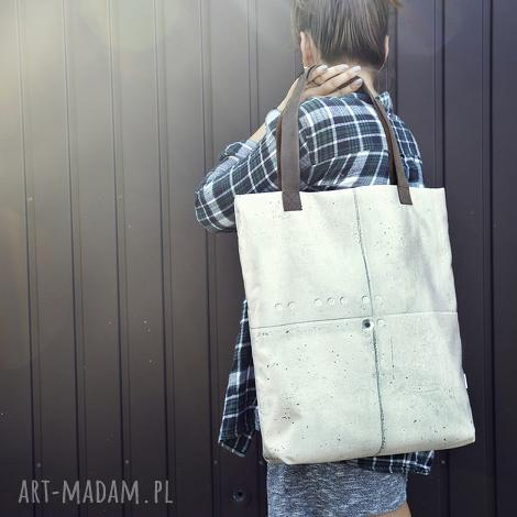 torba mr m beton/uszy skóra naturalna, beton, torba, oryginalna, skóra