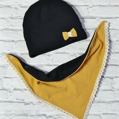 zimowy komplet czapka i apaszka musztarda kokarda - czapka, komin, apaszka, szal, polar