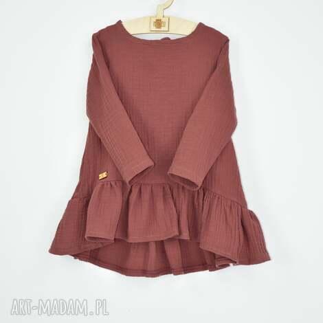 muslinowa sukienka z falbana, zfalbana, doprzedszkola, muslinowa, zmuslinu