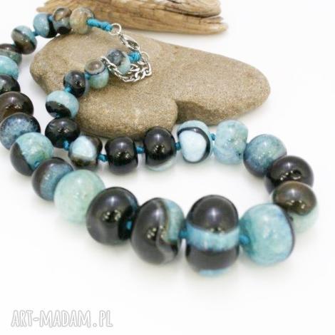 naszyjnik kolorowy agat - naszyjnik, korale, agat, kamienie, oponki, stal