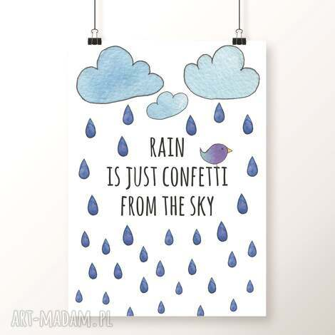 plakat rain a3 - deszcz, konfetti, krople, kropelki, deszczyk, chmury