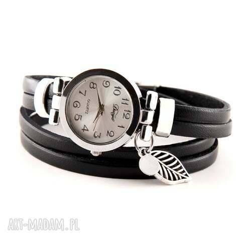 megi mikos zegarek - bransoletka z zawieszkami, skórzany pasek, zegarek