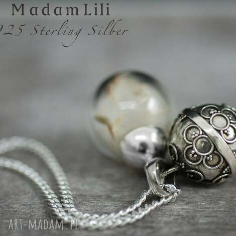 925 srebrny dzwoneczek prawdziwe nasiona dmuchawca - srebro, 925, dmuchawiec, grzechotka