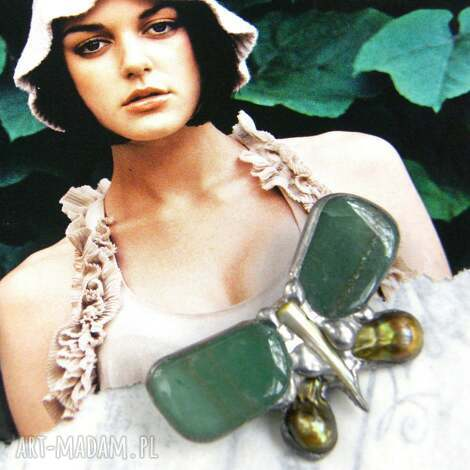 broszka: mały motyl zielony, awenturyn, broszka kamień, awenturyn,