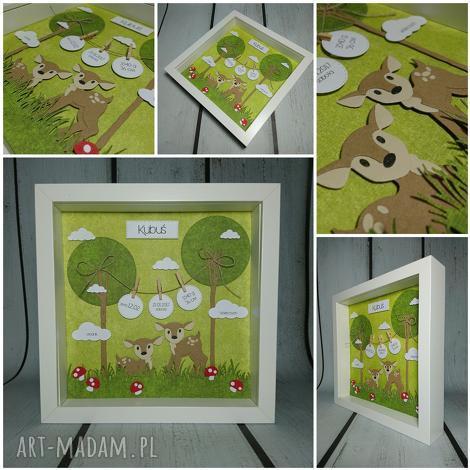 metryczka - bambi - metryczka, sarenka, las, narodziny, urodziny, chrzest