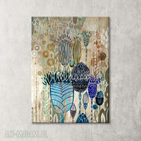 ręcznie malowany obraz na płótnie - ogród - obraz, akryl, kwiaty