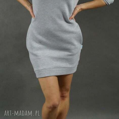 dresówka l/xl, dresowa, tunika, sukienka, kieszenie, ciepła, szara