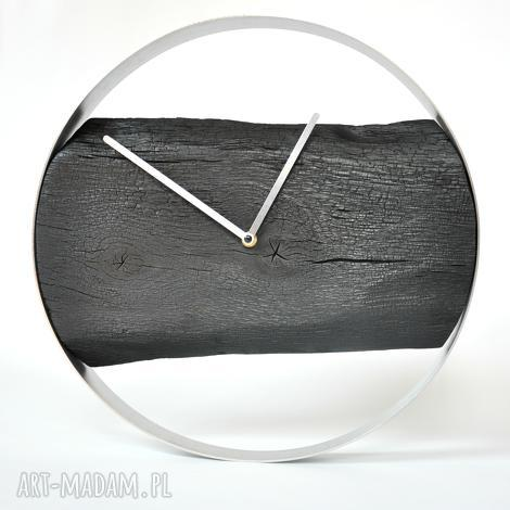 zegar loft - dębowy palony 40cm, drewno, stal, opalane, shousugiban, loftowe