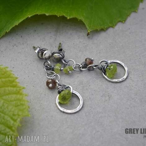 kolczyki małe zielone, srebro, peridot, andaluzyt biżuteria, święta prezenty