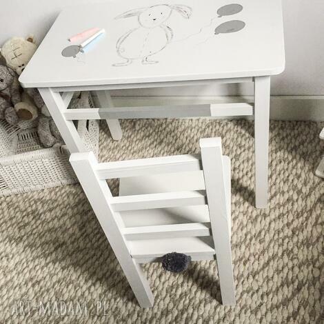 stolik i krzesełko maluch szary królik (meble dziecięce, stolik dla dzieci)
