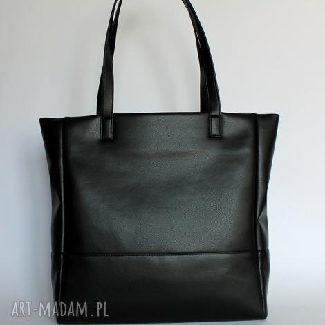 shopper bag - czarna - elegancka, nowoczesna, prezent, pakowna, wygodna