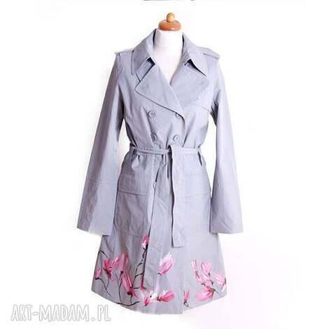 malowany ręcznie wiosenny płaszcz - płaszcz, malowanyręcznie, kobiecy