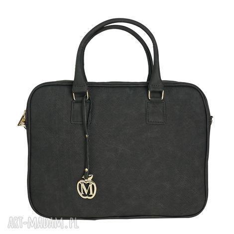 manzana torba na laptopa biznes styl czarna muflon, torba, laptop, torebka