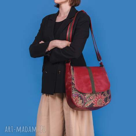 na ramię sashka - torebka czerwień, zieleń i kwiaty, listonoszka
