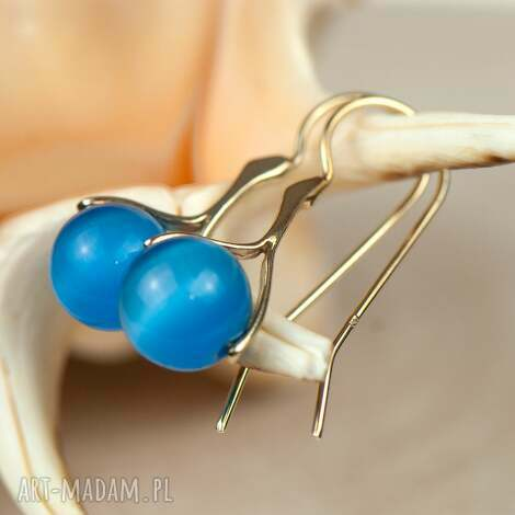 pozłacane kolczyki z niebieskim kocim okiem a584 - kolczyki-srebrne