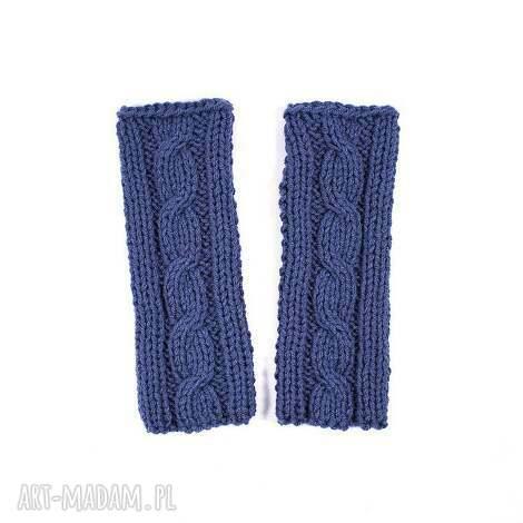 mitenki jeansowe z warkoczem - mitenki, dziergane, zima, jesien, rekawiczki