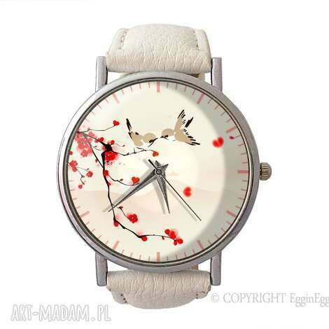 zakochane ptaszki - skórzany zegarek z dużą tarczą, zegarek, skórzany, grafiką