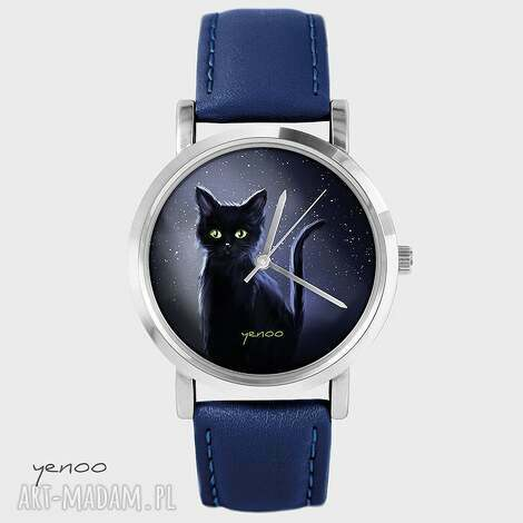 zegarki zegarek, bransoletka - czarny kot granatowy, skórzany