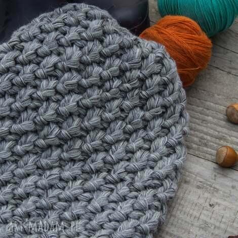 czapka handmade - czapka, wełna, zrobiona-na-drutach, melanż, ciepła