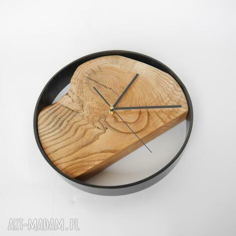 zegar z drewnianą tarczą, loft, dębowy, homedecor, dąb, drewno, prezent zegary