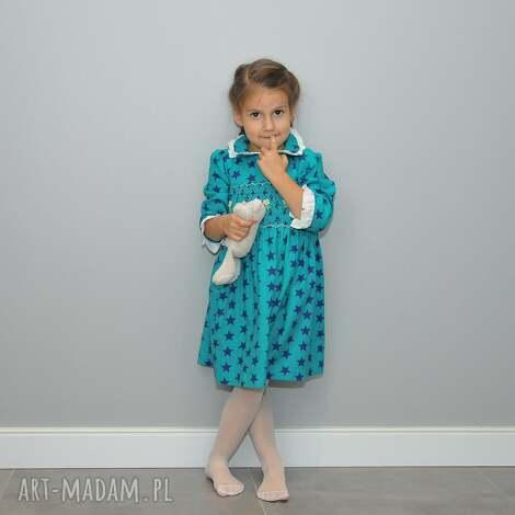 gwiazdka turkusowa - zimowa flanelowa sukienka, gwiazdki, 3lata