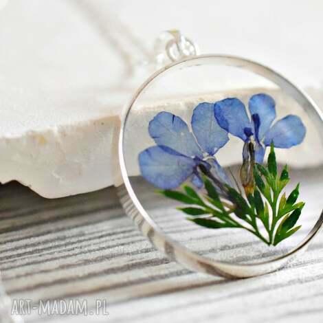 925 srebrny łańcuszek z prawdziwymi kwiatami - łańcuszek, medalion, srebro