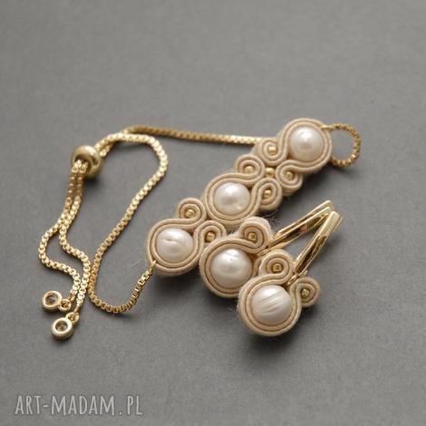 sisu komplet biżuterii sutasz z perłami, sznurek, ecru, delikatny, kremowy