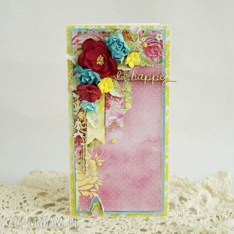 kolorowa be happy w pudełku - kartka-uniwersalna, kartka-urodzinowa