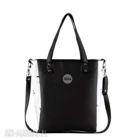 do ręki torebka na ramię cuboid jaskółki #czarno-biały, torba, kolorowa, wygodna