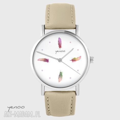 zegarek yenoo - kolorowe piórka beżowy, skórzany, zegarek, bransoletka, piórko