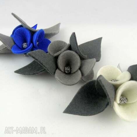 zestaw - 3 broszki z filcu - filc, folk, broszka, filcowy, kwiatek, kwiatki