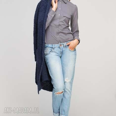 klasyczna koszula, k106 szary - casual, elegancka, taliowana, klasyczna, kołnierzyk