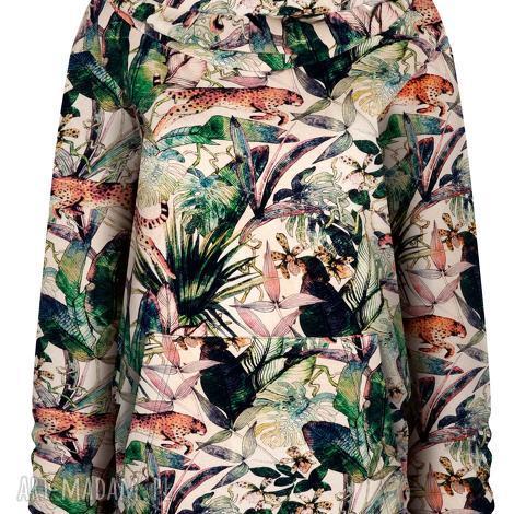 bluza kanurka w gepardy, oversize z dużym kapturem, bawełniana, dresowa
