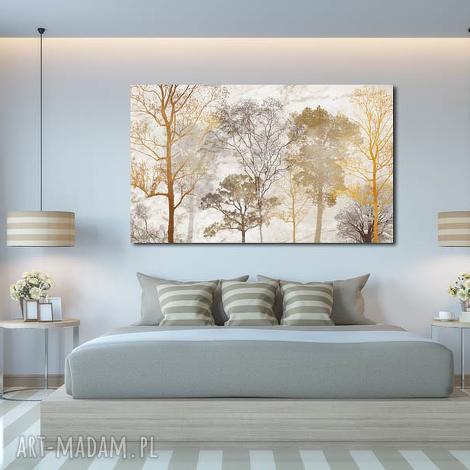 obraz duże drzewo 15 -120x70cm na płótnie brąz beż, obraz, drzewa, dom