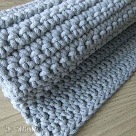 szary dywan ze sznurka 60 x 75 cm, dywan, chodnik, szydełko, sznurek, bawełna, szary