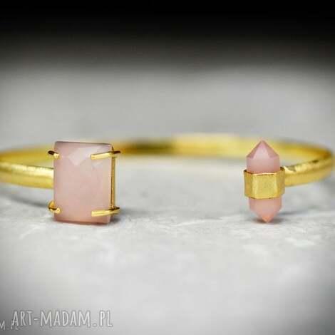 pozłacana bransoletka z kamieniami różowego kwarcu, kamień, kwarc, różowy, kamienie